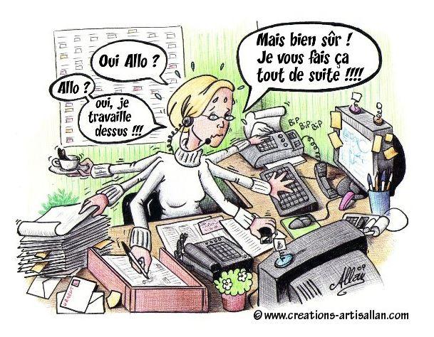 Illustration d'une secrétaire médicale débordée